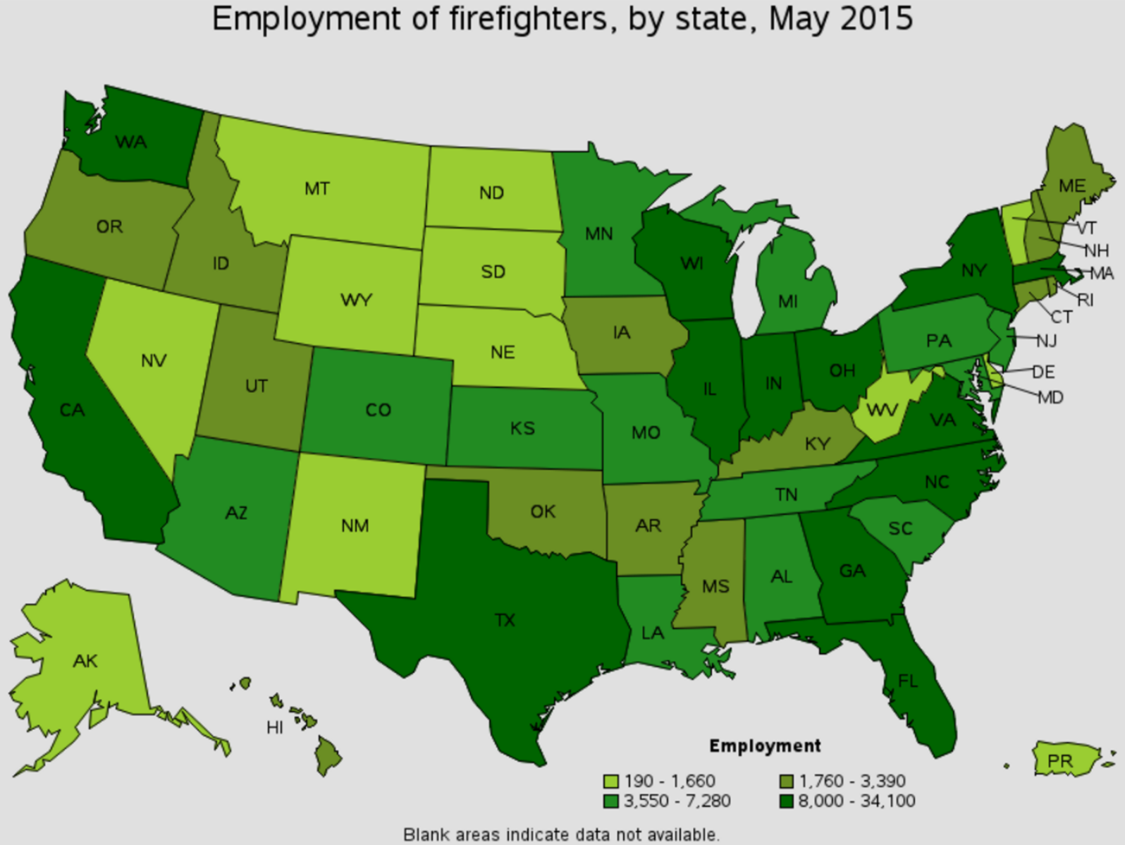 firefighter job outlook by state Wyoming Iowa