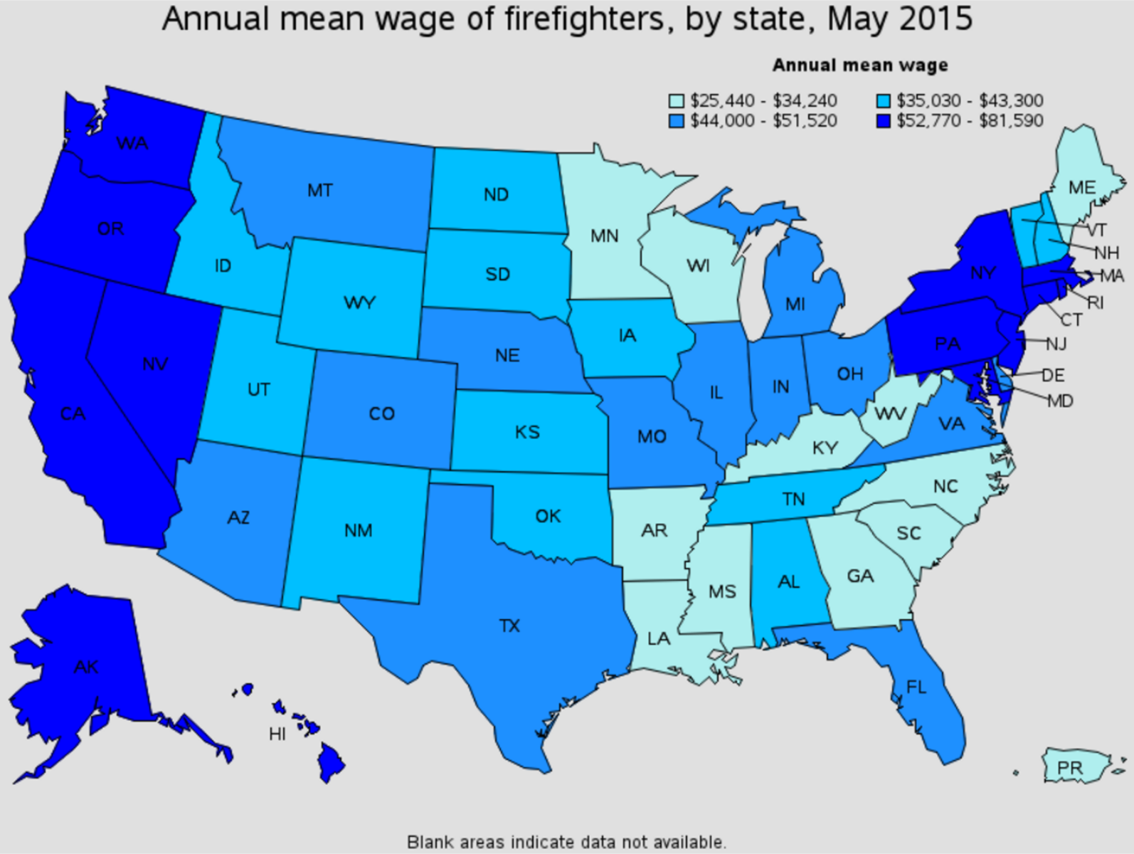 firefighter average salary by state Wyoming Iowa